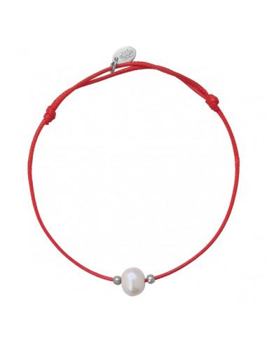 Bracelet ajustable une perle de culture blanche cordon rouge