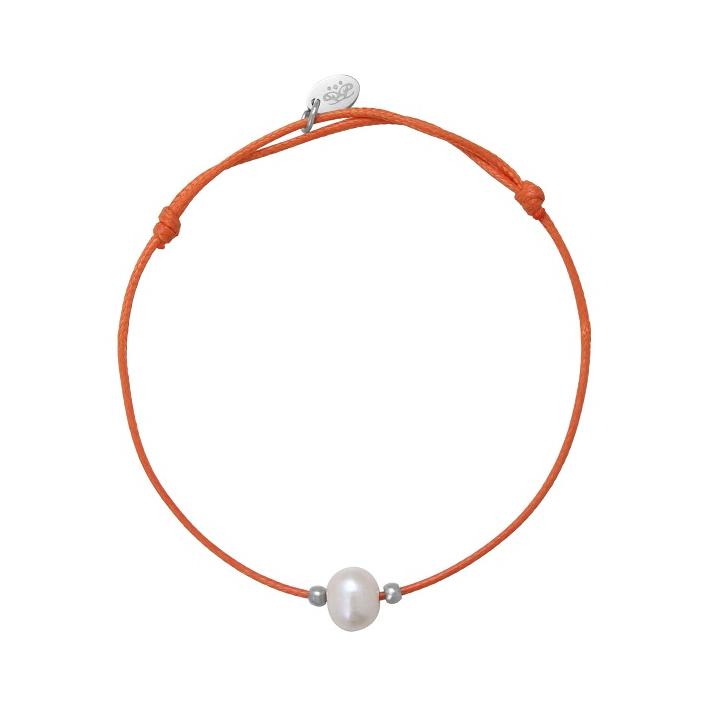 Bracelet ajustable une perle de culture blanche cordon bleu