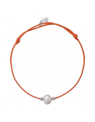 Bracelet ajustable une perle de culture blanche cordon orange