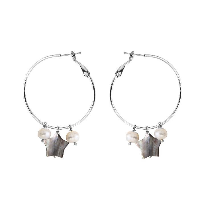 Boucles d'oreilles créoles étoile de nacre naturelle noire accompagnée de deux perles de culture blanches