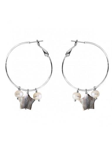Boucles d'oreilles perle de culture blanche et étoile nacrée créole
