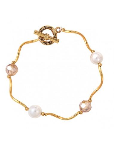 bracelet perle de cristal, perle de nacre et tubes dorés en vagues