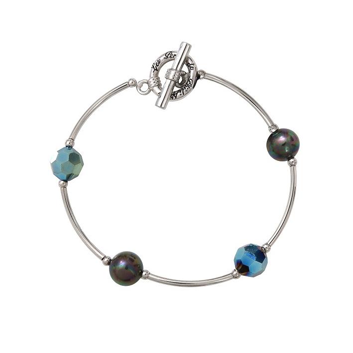 Bracelet tubes argentés harmonie de perles de cristal et de perles de nacre