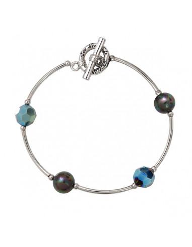 Bracelet perle nacrée noire et cristal facetté sur tubes argentés