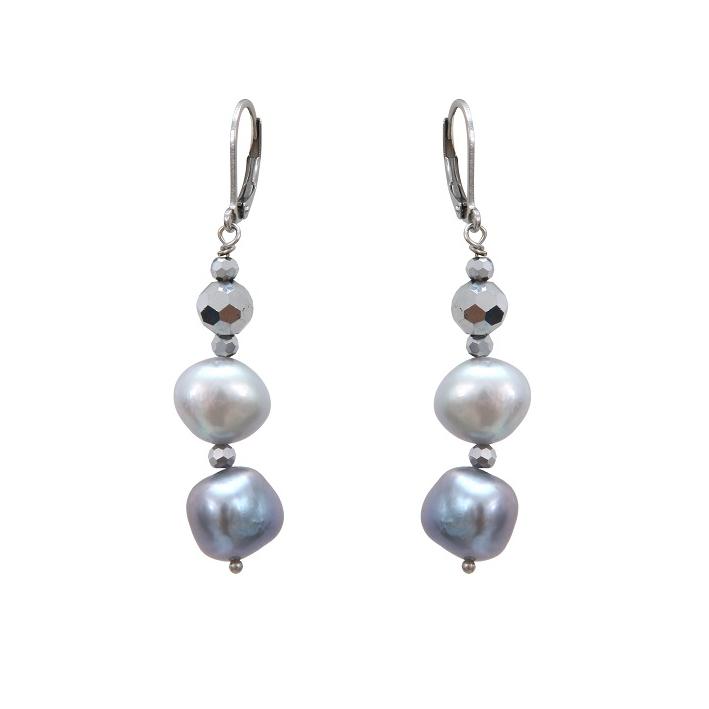 Boucles d'oreilles prestige perles de culture et hématites facettées