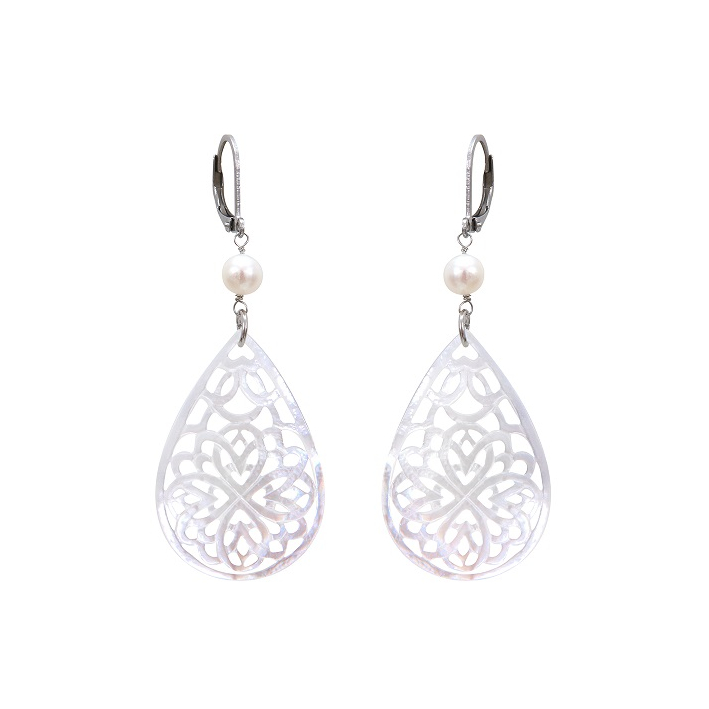 Boucles d'oreilles filigrane de nacre dentellée forme goutte et perles de culture