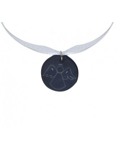 Collier pendentif ange en nacre naturelle noire sur ruban