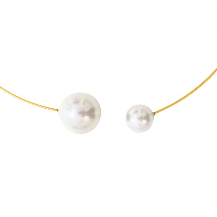Collier jonc 2 splendides perles de nacre blanches sur doré