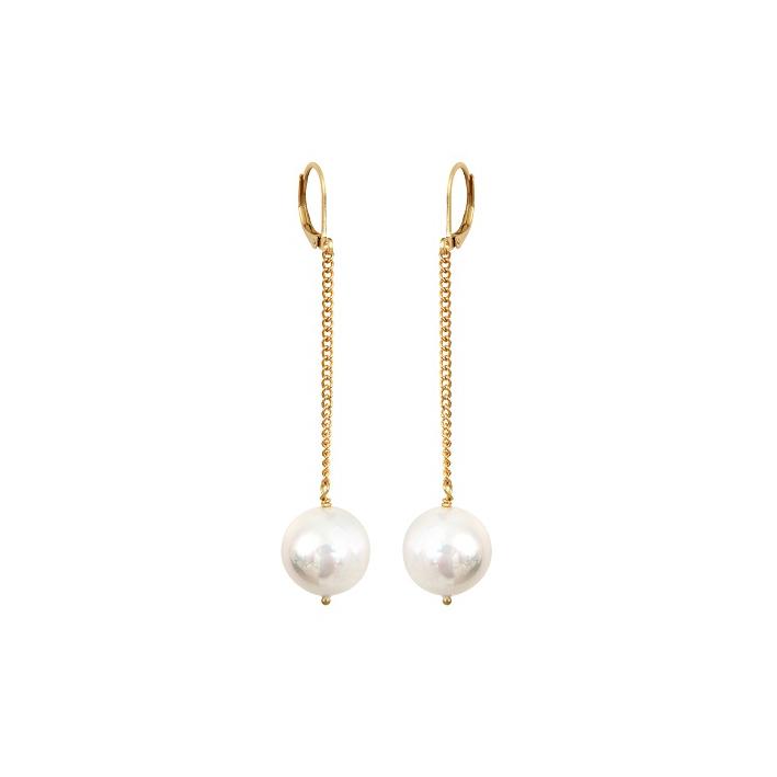 Boucles d'oreilles magnifiques perles de nacre blanches sur doré