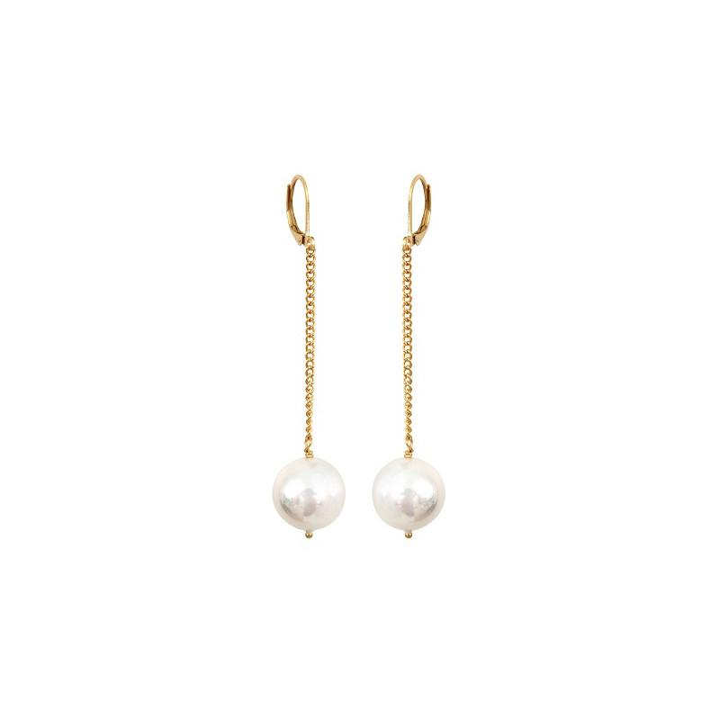 boucle d oreille perle nacr e blanche et dor perles de philippine. Black Bedroom Furniture Sets. Home Design Ideas