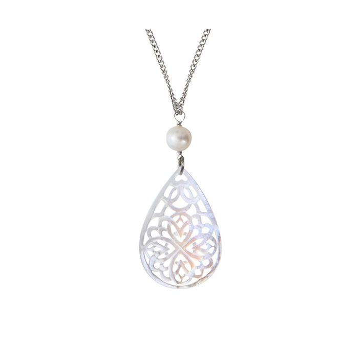 Pendentif filigrane de nacre dentellée forme goutte et perle de culture