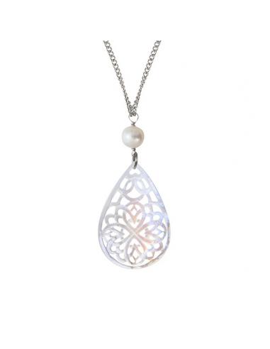 Pendentif filigrane de nacre dentellée et perle de culture