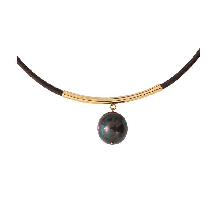 Collier cuir noir une magnifique perle de nacre noire sur tube doré