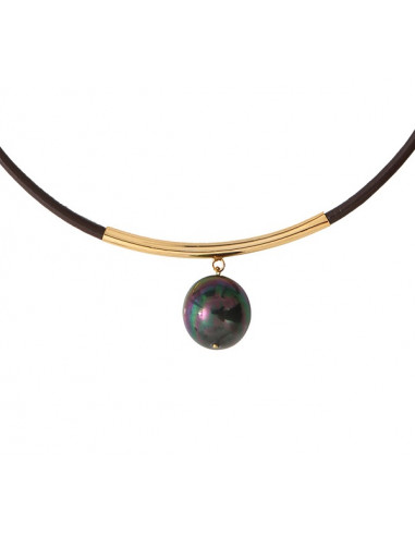 Collier cuir chocolat une magnifique perle de nacre noire sur tube doré