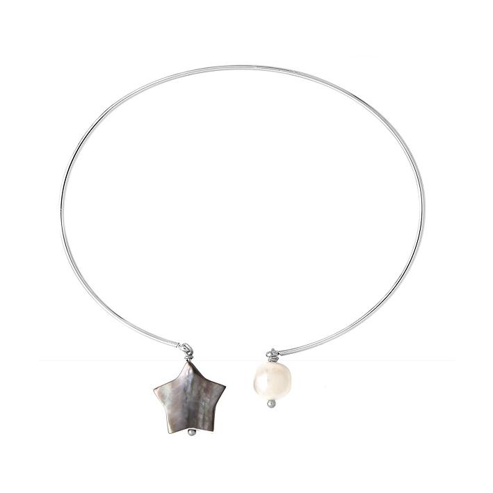 Bracelet jonc étoile de nacre naturelle noire et une perle de culture blanche en pampilles