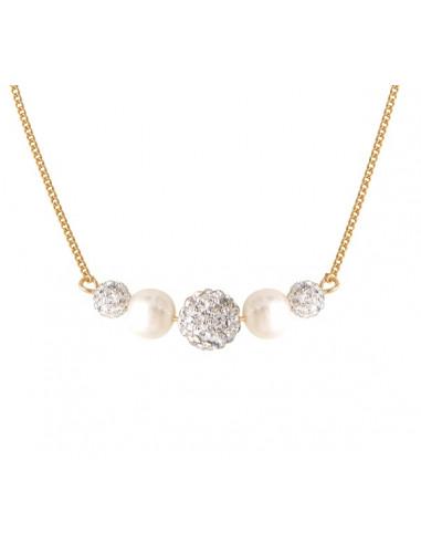 Collier doré duo de perles de culture et shamballas blanches