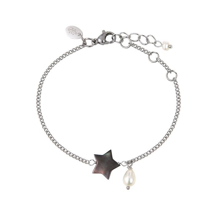 Bracelet étoile de nacre naturelle noire et une perle blanche en pampille