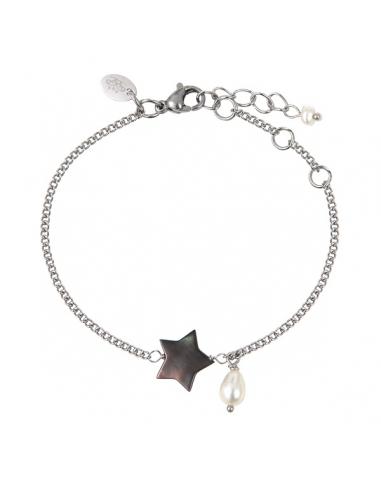 Bracelet étoile de nacre naturelle noire et une perle en pampille