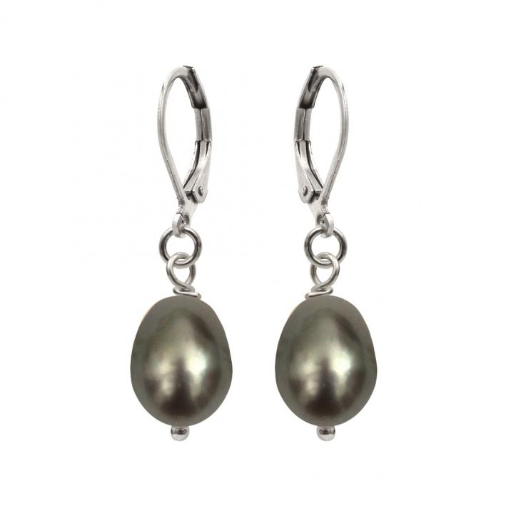 Boucles d'oreilles dormeuses perles de cultures noires