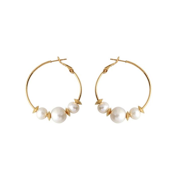 Boucles d'oreilles créoles 3 perles de culture blanches entourées d'anneaux dorés