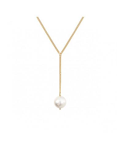 Collier cravate une magnifique perle de nacre blanche sur doré