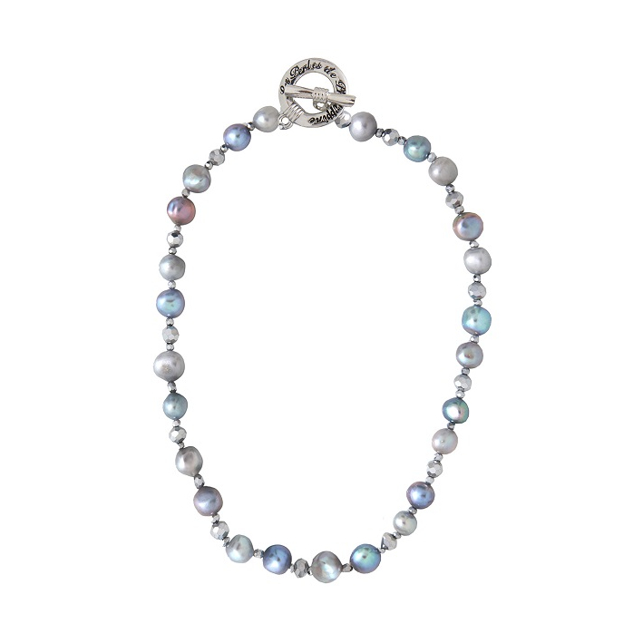 Collier prestige perles de culture et hématites facettées