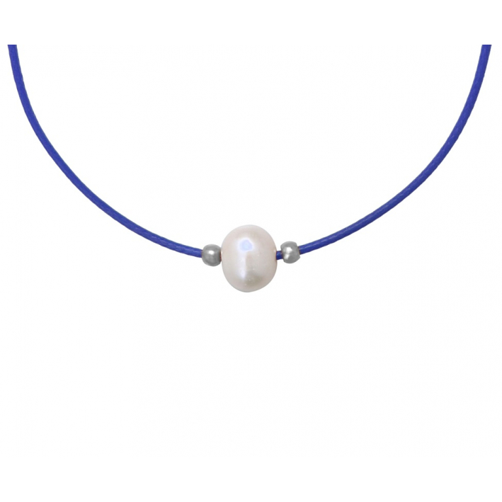 Collier une perle de culture blanche cordon bleu