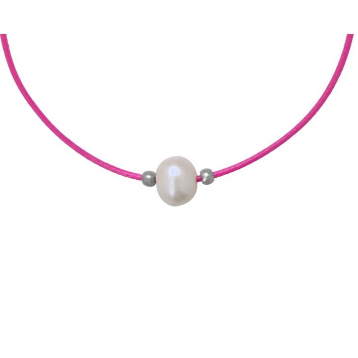 Collier une perle de culture blanche cordon rose