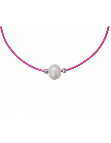 Collier une perle de culture blanche cordon rose