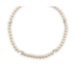 Collier magnifiques perles de culture et shamballa blancs
