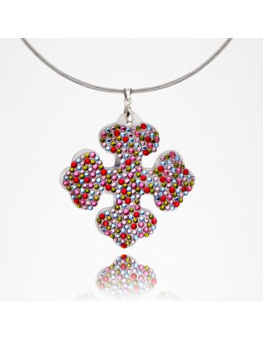 Croix occitane pavage de cristal multicolore scintillant