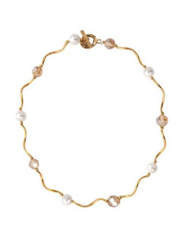 Collier tubes dorés harmonie de perles de cristal et de nacre