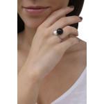 Bague jonc 2 splendides perles de nacre noire et blanche sur argenté