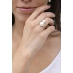 Bague jonc 2 splendides perles de nacre blanches sur doré