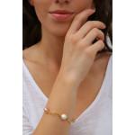 Bracelet tubes dorés harmonie de perles de cristal et de perles de nacre