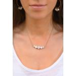 Collier doré duo de perles de culture et de perles shamballas blanches