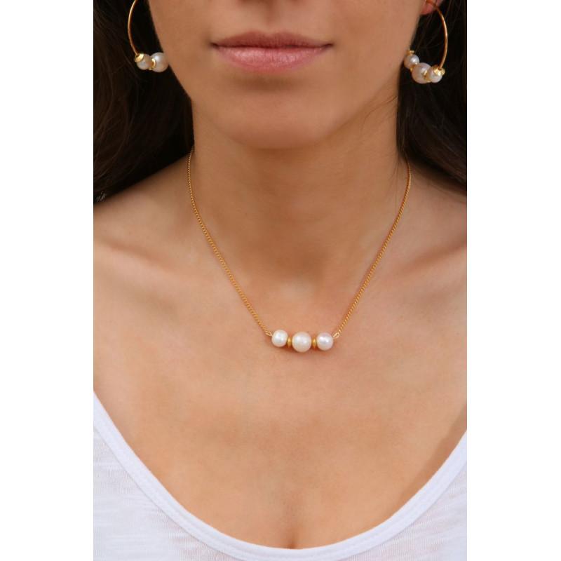 collier or et perle de culture authentique perles de. Black Bedroom Furniture Sets. Home Design Ideas