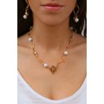 Collier tubes dorés harmonie de perles de cristal et de perles de nacre