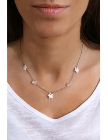 Collier cristal blanc en perles et nacre naturelle - Esprit Marin