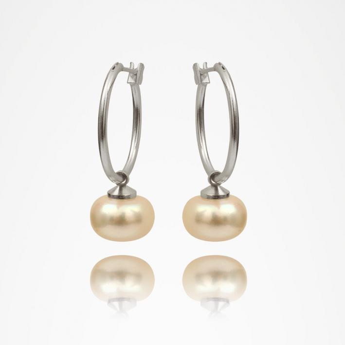 Boucles d'oreilles créoles perle de culture blanche