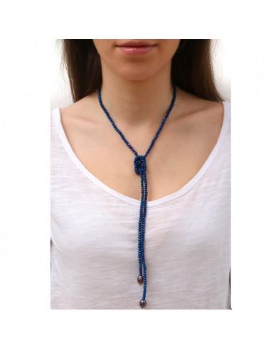 Sautoir perles scintillantes bleu nuit et perle de culture noire