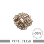 Bague élastique perles de culture et cristal. Argentée