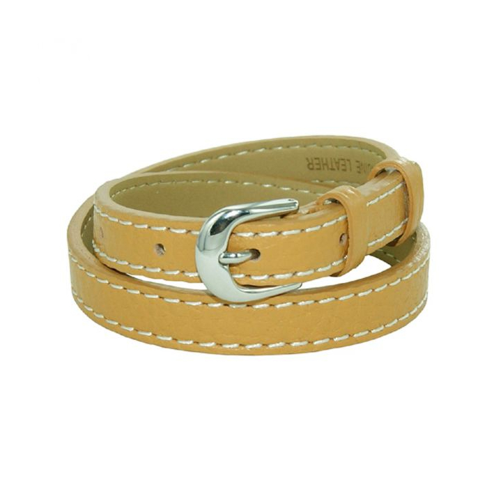 Bracelet double tour cuir sellier marron camel