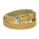 Bracelet double tour cuir sellier marron camel