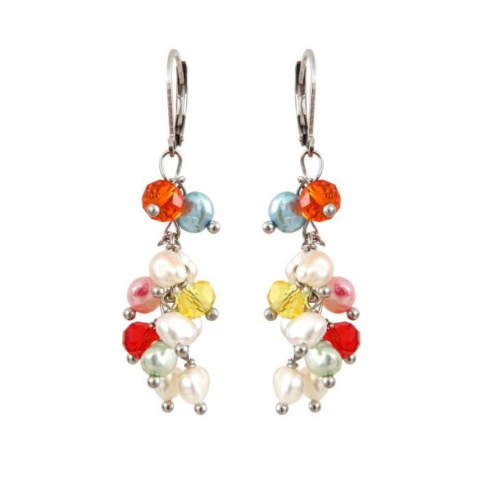 Boucles d'oreilles grappes de perles et cristal multicolores