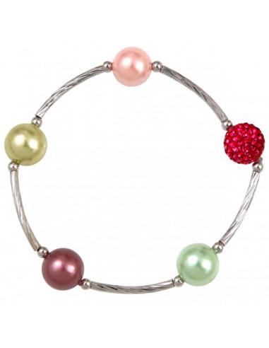 Bracelet perles de nacre et shamballas rose sur tubes