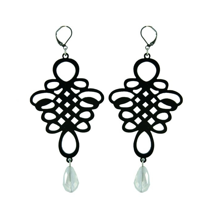 Boucles d'oreilles baroques vénitiennes noires et cristal