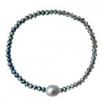 Bracelet perles scintillantes et de culture argentées