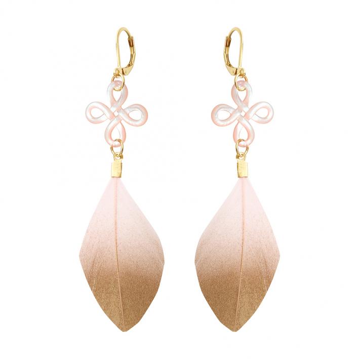 Boucles d'oreilles clip Brandebourg filigrané nacre et plume rose