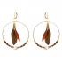 Boucles d'oreilles créoles duo de plumes chocolat et brun Alezan